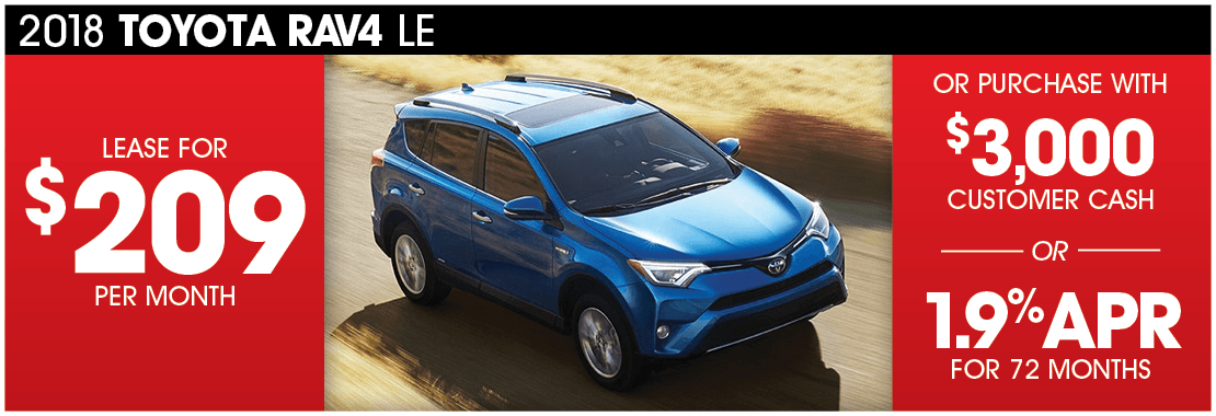 Lease A 2018 Toyota Rav4 For 209 Per Month Or Purchase With 3 000 Customer Cash From Passport Toyota Passport Toyota Blog