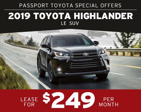 Toyota Highlander Lease >> 2019 Toyota Highlander Passport Toyota Specials Suitland Md